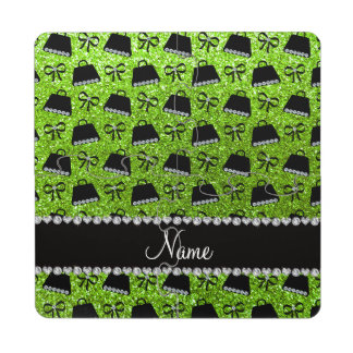 Personalized name neon green glitter purses bow puzzle coaster