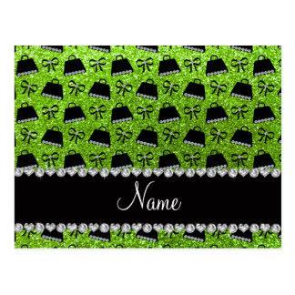 Personalized name neon green glitter purses bow postcard