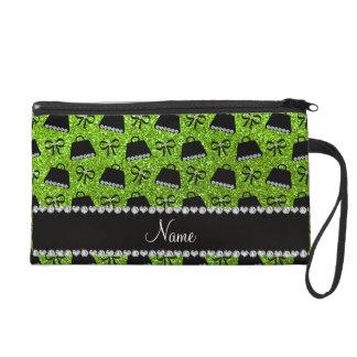 Personalized name neon green glitter purses bow wristlet purse
