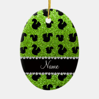 Personalized name neon green glitter squirrel ceramic ornament