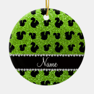 Personalized name neon green glitter squirrel christmas ornaments