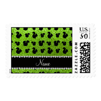Personalized name neon green glitter squirrel postage
