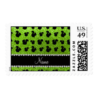 Personalized name neon green glitter squirrel stamps