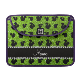 Personalized name neon green glitter squirrels MacBook pro sleeves