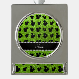 Personalized name neon green glitter squirrels silver plated banner ornament