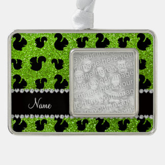 Personalized name neon green glitter squirrels silver plated framed ornament