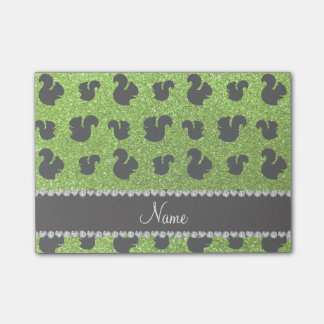 Personalized name neon green glitter squirrels post-it® notes