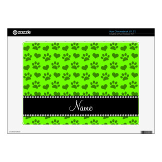 Personalized name neon green hearts and paw prints decal for acer chromebook