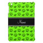 Personalized name neon green hearts and paw prints iPad mini cover
