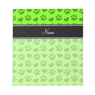 Personalized name neon green hearts and paw prints notepad