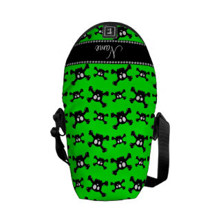 Personalized name neon green skulls pattern courier bags