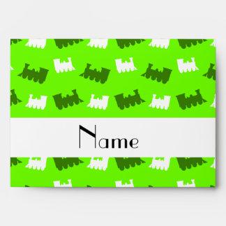 Personalized name neon green train pattern envelope