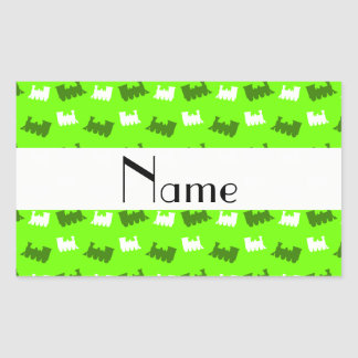 Personalized name neon green train pattern rectangle stickers