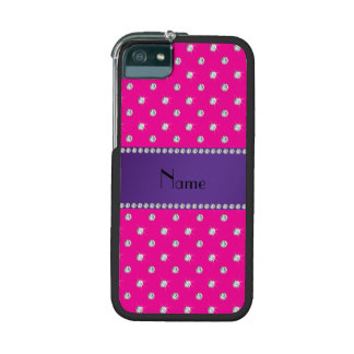 Personalized name neon hot pink diamonds iPhone 5 cases