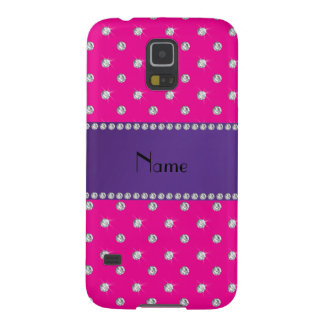 Personalized name neon hot pink diamonds galaxy s5 cover