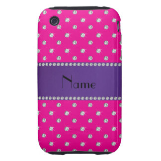 Personalized name neon hot pink diamonds tough iPhone 3 covers