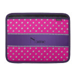 Personalized name neon hot pink diamonds sleeve for MacBook air