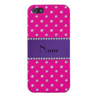 Personalized name neon hot pink diamonds cover for iPhone 5