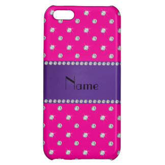 Personalized name neon hot pink diamonds iPhone 5C covers