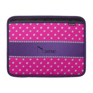 Personalized name neon hot pink diamonds MacBook sleeve