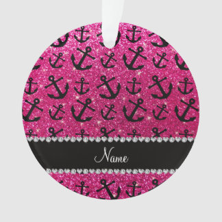 Personalized name neon hot pink glitter anchors
