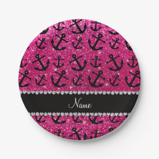 Personalized name neon hot pink glitter anchors 7 inch paper plate