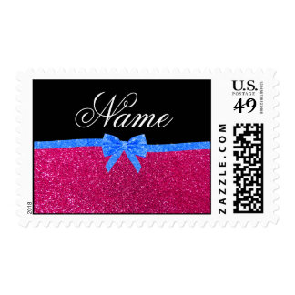 Personalized name neon hot pink glitter blue bow stamp