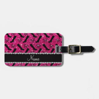 Personalized name neon hot pink glitter boots bows luggage tag