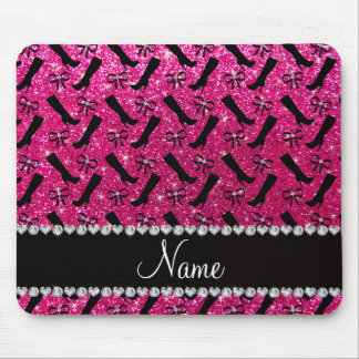 Personalized name neon hot pink glitter boots bows mouse pad