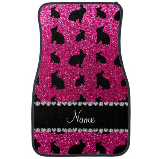 Personalized name neon hot pink glitter bunny car mat