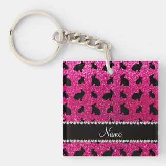 Personalized name neon hot pink glitter bunny keychain