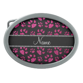 Personalized name neon hot pink glitter cat paws belt buckle
