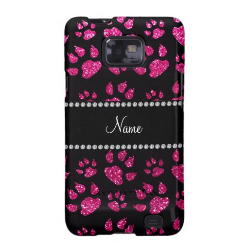 Personalized name neon hot pink glitter cat paws samsung galaxy s2 cover