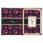 Personalized name neon hot pink glitter cat paws iPad air cases