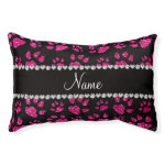 Personalized name neon hot pink glitter cat paws small dog bed