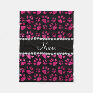 Personalized name neon hot pink glitter cat paws fleece blanket