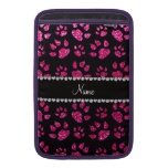 Personalized name neon hot pink glitter cat paws sleeves for MacBook air
