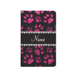 Personalized name neon hot pink glitter cat paws journal