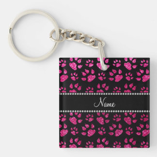 Personalized name neon hot pink glitter cat paws square acrylic key chains