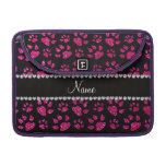 Personalized name neon hot pink glitter cat paws sleeve for MacBook pro