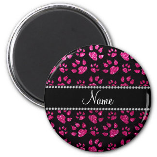 Personalized name neon hot pink glitter cat paws refrigerator magnet