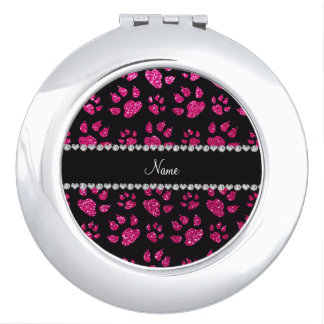 Personalized name neon hot pink glitter cat paws makeup mirror