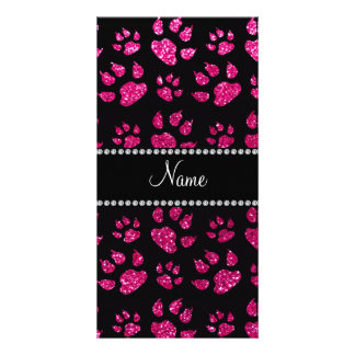 Personalized name neon hot pink glitter cat paws photo greeting card