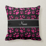 Personalized name neon hot pink glitter cat paws pillows