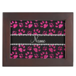 Personalized name neon hot pink glitter cat paws memory box