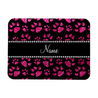 Personalized name neon hot pink glitter cat paws rectangle magnets