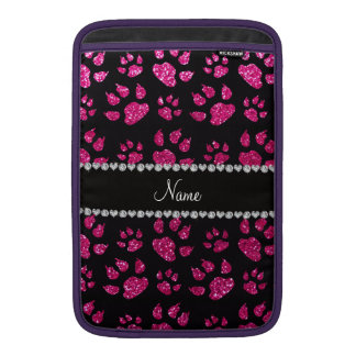 Personalized name neon hot pink glitter cat paws sleeve for MacBook air