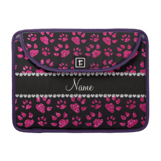 Personalized name neon hot pink glitter cat paws sleeves for MacBook pro