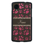 Personalized name neon hot pink glitter cat paws carved® maple nexus 5 case