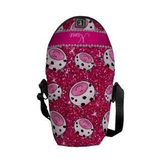 Personalized name neon hot pink glitter cow heads messenger bag